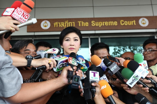 Former prime minister Yingluck Shinawatra was at the Supreme Court in Bangkok in September during the rice-pledging trial. (Photo by Phrakrit Juntawong)