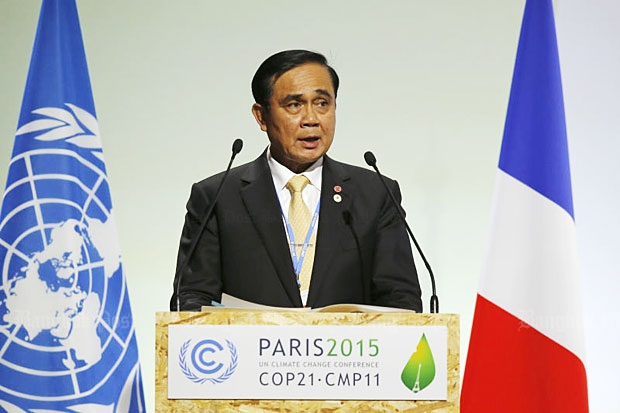 Prime Minister Prayut Chan-o-cha addresses world leaders at the United Nations Climate Change Conference in Le Bourget, Paris, on Monday. (AP Photo)
