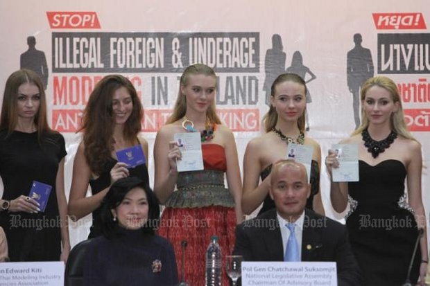 These models of propriety all have valid work permits, but concerned local models believe more than 200 foreigners are modelling without permits. (Photo by Tawatchai Kemgumnerd)