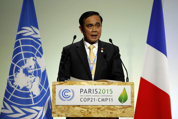 Prime Minister Prayut Chan-o-cha delivers a speech during the opening session of the World Climate Change Conference 2015 (COP21) at Le Bourget, near Paris, on Nov 30, 2015. (Reuters photo)