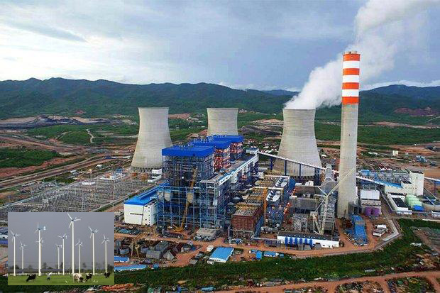 The first unit of the Hongsa coal-fired power plant in northern Laos was turned in June and has already reduced Thailand's dependency on natural gas generated power. (Source: Hongsa Power Company) Inset: Wind turbines part of the Chang Hua Mun Royal Project in Phetchaburi province. The recent rise in alternative energy sources for power generation including solar and wind power is also a factor in reducing Thailand's dependence on natural gas for power generation.