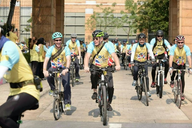 Foreign ambassadors cycle along the 'Bike for Dad' route at the Foreign Affairs Ministry yesterday. PHOTO COURTESY OF THE FOREIGN AFFAIRS MINISTRY