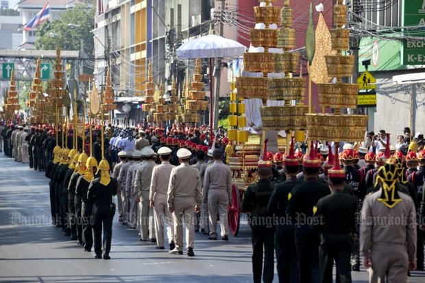 Full dress rehearsals for the funeral of the late Supreme Patriarch were held last week. (Photo by Krit Phromsakla Na Sakolnakorn)