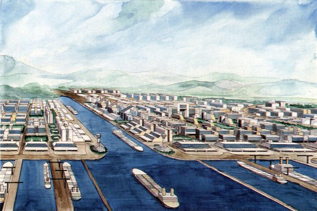 The Kra Canal is probably Thailand's oldest project that never has begun. This artist's conception is from 1999. (File photo)