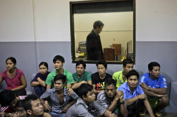 Department of Special Investigation (DSI) raided the Gig shrimp peeling factory last month and detained all the Myanmar workers to check their papers. The shed later closed, but many others continue to operate in Samut Sakhon, raising charges of slave-like treatment of migrant labour. (AP Photo)