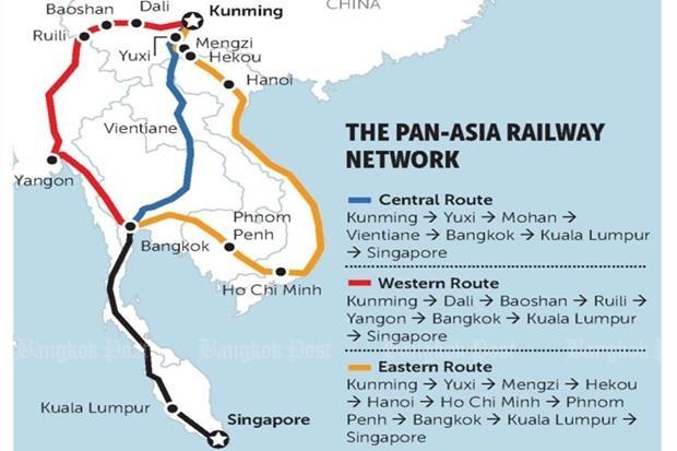 Map Of Asia Railways.Bangkok At The Centre Of Huge Future Rail Network Bangkok