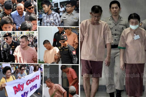 Some of the major lese majeste cases of 2015 - and a street protest in favour. (Bangkok Post photos)