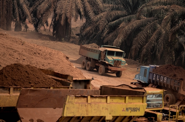 Trucks transporting soil containing bauxite exit a mining site in Bukit Goh in Pahang state of Malaysia. A local farmer's palm plantation has been razed and bulldozers are tearing into its red soil, releasing potentially hazardous dust into the environment. (AFP Photo)