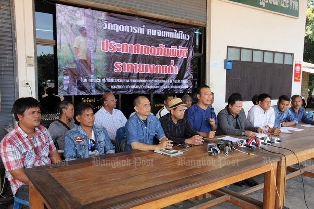Prathop Suksanan, president of the Southern Rubber Planters Network, says desperate growers will begin a hunger strike Tuesday