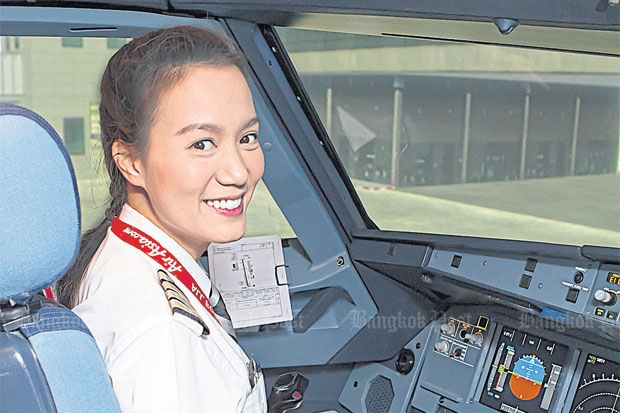Chananporn Rosjan, who was crowned Miss Thailand Universe in 2005, has climbed in the ranks to become a captain at Thai AirAsia.Photo courtesy of Thai AirAsia