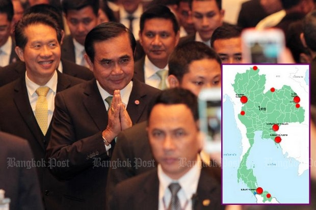 Prime Minister Prayut Chan-o-cha attended FTI Outlook 2016, where he promised environmental and health studies before construction of the 10 special economic zones he plans. (Photo by Pawat Laopaisarntaksin)