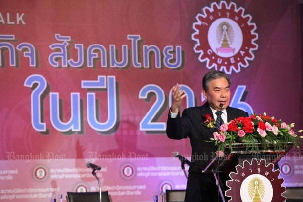Finance MinisterApisak Tantivorawong has been promoting the Thailand Future Fund at events like last month's Social Economy Thailand 2016 event. (Post Today photo)