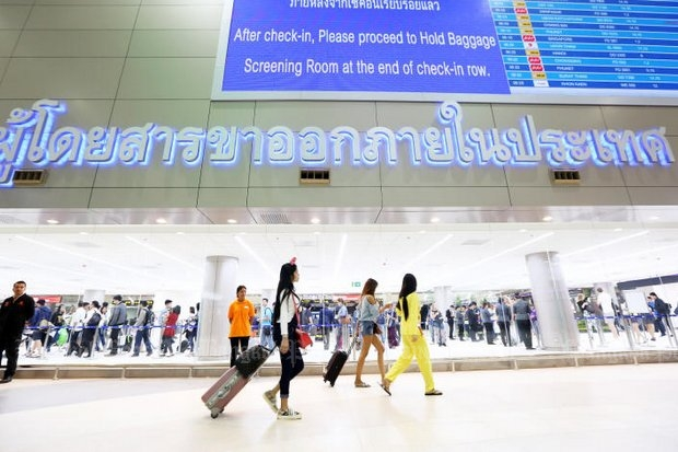 The opening of Terminal 2 at Don Mueang airport (above) could allow an even greater number of passengers this year.  (Photo by Wisit Thamngern)