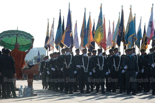 Reserve officer training students march at the Royal Plaza in mid-December 2014. (Bangkok Post file photo)