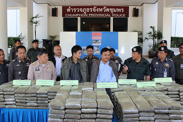 Region 8 Provincial Police display 448kg of marijuana seized from vans driven by arrested suspects Chatree Chui-ui and Uthai Surapin. (Photo by Amnart Thongdee)