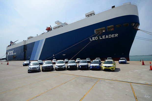 Honda vehicles, completely built-up units, ready to be loaded for export.(Photo supplied by the company)