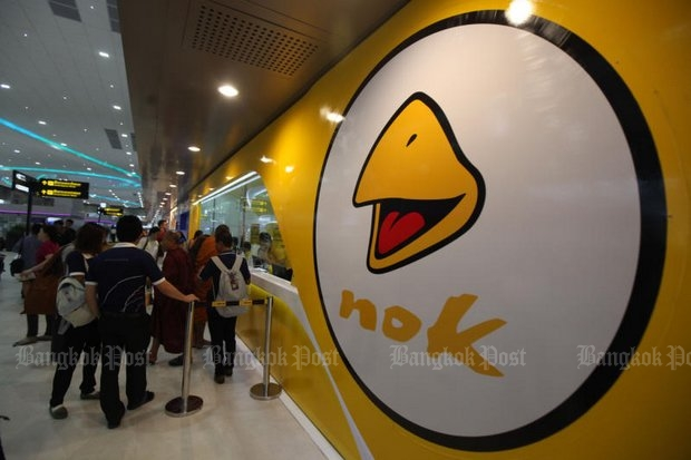 Nok Air's reputation was battered Sunday by a wildcat walkout by pilot that grounded nine flights and stranded hundreds of passengers. (Photo by Thiti Wannamontha)