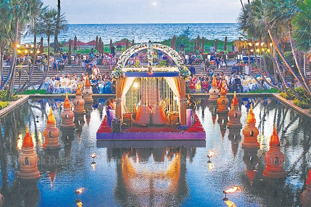 LAVISH LOCATION: No expense was spared at this Indian wedding at the JW Marriott Phuket Resort and Spa. Many of Thailand's leading resorts and hotels now cater to Indian weddings.