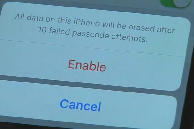 Because the terrorist-owner enabled the feature (inset) the FBI now cannot try to break into the encrypted phone using brute force.