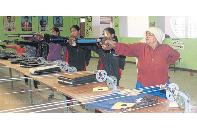 Chandro Tomar leads younger shooters at the Johri shoorting range.