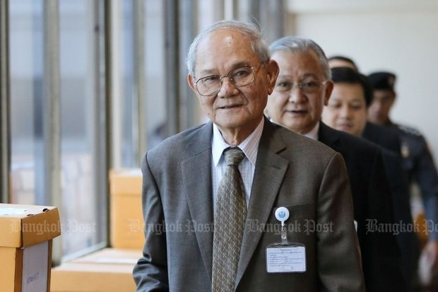 Chairman Meechai Ruchupan (foreground) appears ready to defy the military regime's