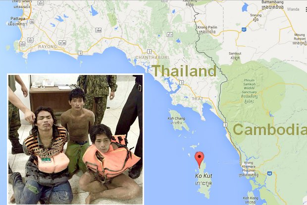 The three Cambodians arrested and charged with the rape and assault of four French tourists were captured in a mountainous area of Koh Kut by a combined force of marines, police district officials and villagers. (Photo courtesy of Koh Kut marines task force unit)