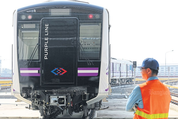 The Purple Line electric trains have been undergoing test runs since late last year. The line, running from Nonthaburi's Bang Yai district to Bangkok's Bang Sue district is scheduled to commence operation in August.CHANAT KATANYU