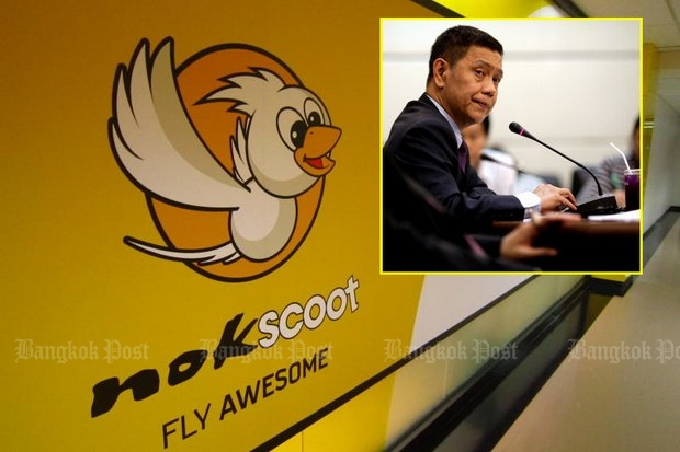 Former Thai Airways International executives accuse ex-THAI acting president Chokchai Panyayong (inset) with malfeasance when NokScoot budget airline was set up. (Photos by Boonsong Kositchotethana, AFP)