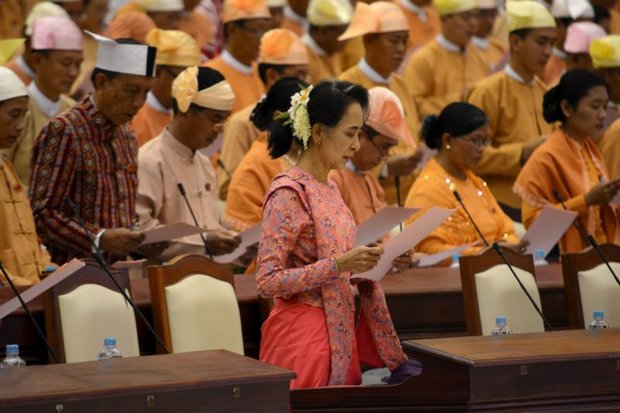 Aung San Suu Kyi heads the party that swept elections but is ineligible to be president, and will have to serve as a