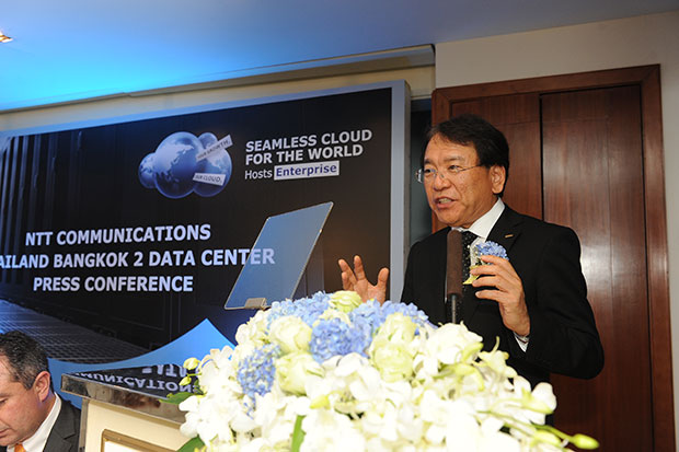 Tetsuya Shoji, president and chief executive of NTT Communications Corporation in Japan, speaks at the launch of a new data centre. (Photo supplied by the company)