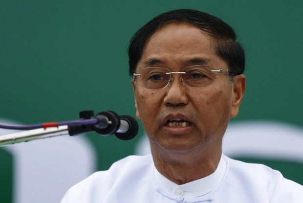 Myint Swe, who has been nominated as vice-president by the Myanmar military, delivers a speech during a Union Solidarity and Development Party (USDP) party campaign rally in Yangon on Oct 10 last year. (EPA Photo)