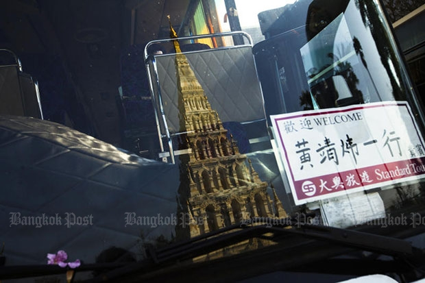 A welcome sign is shown on a coach serving tourists in Chiang Mai. (Bangkok Post file photo)