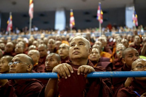 Buddhist monks attend a Ma Ba Tha ceremony to mark the approval of race and religious laws at Thuwana stadium in Yangon. The nationalist Buddhist network won an award for its good work to protect Buddhism in Thailand last month. (EPA photo)