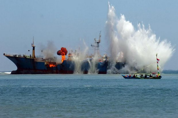 Indonesia has blown up more than 150 captured, foreign boats in its crackdown against illegal fishing. (EPA photo)