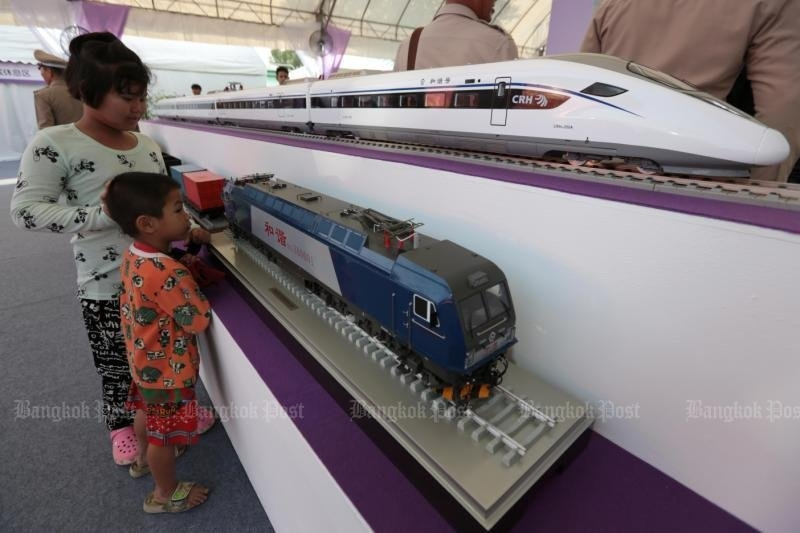 China will no longer help to fund the Rayong-Nong Khai high-speed rail service through Bangkok, but will help to plan and build it, and Chinese rolling stock like these models will be used. (File photo)