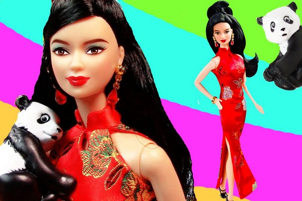 Chinese Barbie in Mattel's Dolls of the World collection has dark hair and wears various cheongsam. Also, she loves pandas. (Photo via Mattel, YouTube)
