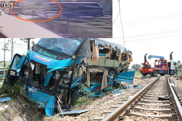 The damaged bus sits next the tracks in Nakorn Chaisi district. The bus-train collision occurred in broad daylight with the approaching train clearly visible and sounding its horn. It killed three and injured 27. (Photos by Pattarapong Chatpattarasill)