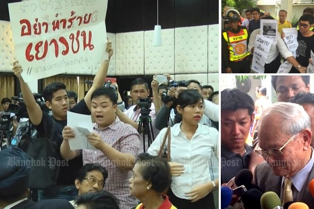 High school students (left) and Thammasat University protesters heckled constitution writer Meechai Ruchupan Tuesday, for which he quickly blamed