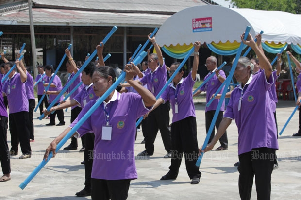 Exercise is underway at the centre for living quality development and career promotion for the elderly in tambon Nong Lan of Tha Maka district in Kanchanaburi. (Bangkok Post file photo)