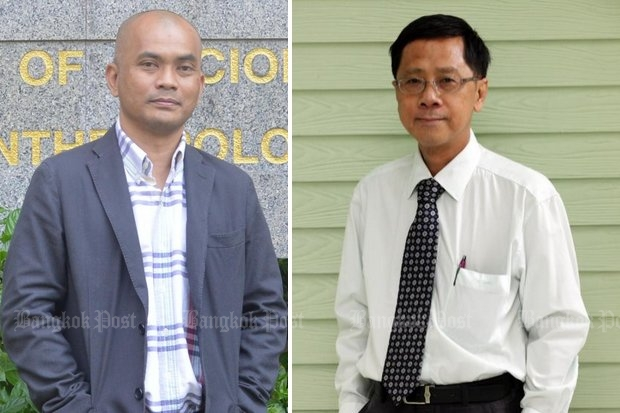 Academics Anusorn Unno (left, above) and Pichit Likitkijsomboon of Thammasat University are leading a new scholars' network that opposes the military regime's draft constitution.