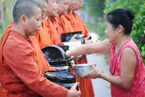 The greatest hurdles for female monks come from inside the clergy, but Buddhists almost universally welcome the Bhikkuni. (File photo by Suchada Hongsa)