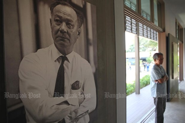 A large photo of Puey Ungphakorn hangs on the wall of the Puey Community Learning Centre in Chai Nat.(Photo by Wichan Charoenkiatpakul)