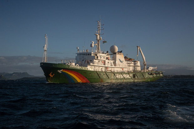 The Esperanza departs from the port of Diego Suarez on April 15 entering the Indian Ocean on a new campaign targeting users of 'destructive' fish aggregating gear used by boats supplying tuna canner Thai Union. (Photo by Will Rose/Greenpeace)