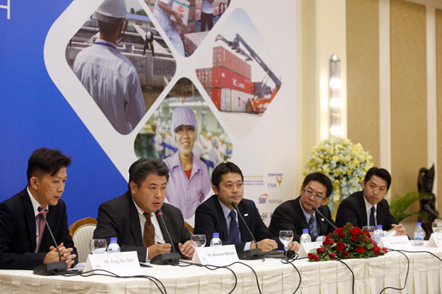 Uematsu Hiroshi (second left), CEO of Phnom Penh Special Economic Zone, speaks during its Initial Public offering launch in Phnom Penh on Wednesday. (Reuters photo)
