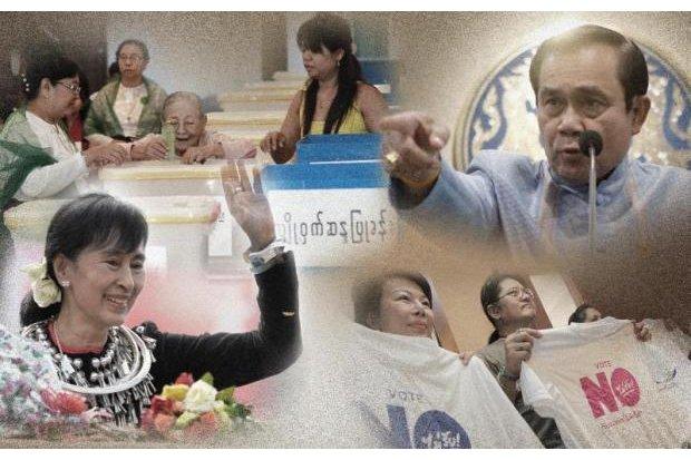 Myanmar and Thailand, next-door neighbours going in opposite political directions.