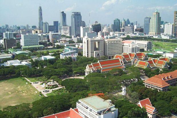 Bird's eye view of Chulalongkorn University campus in downtown Bangkok (Source: Wikipedia).