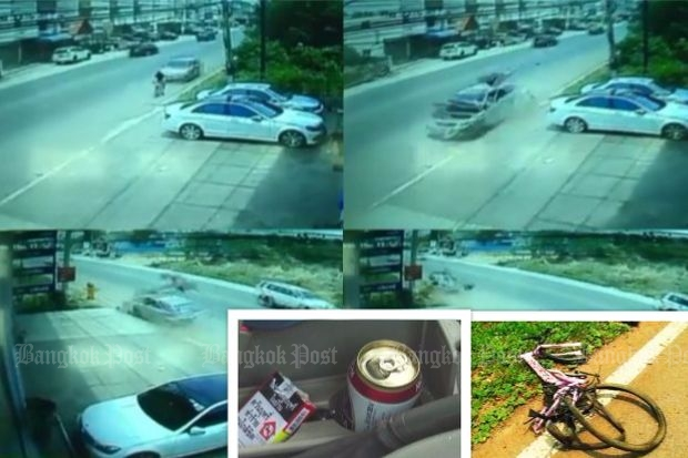 Graphic CCTV footage clearly shows how vulnerable people riding bicycles on the side of road are to speeding drivers (Source: Post Today); Inset: Open can of beer found next to driver's seat; Mangled wreckage of bicycle.