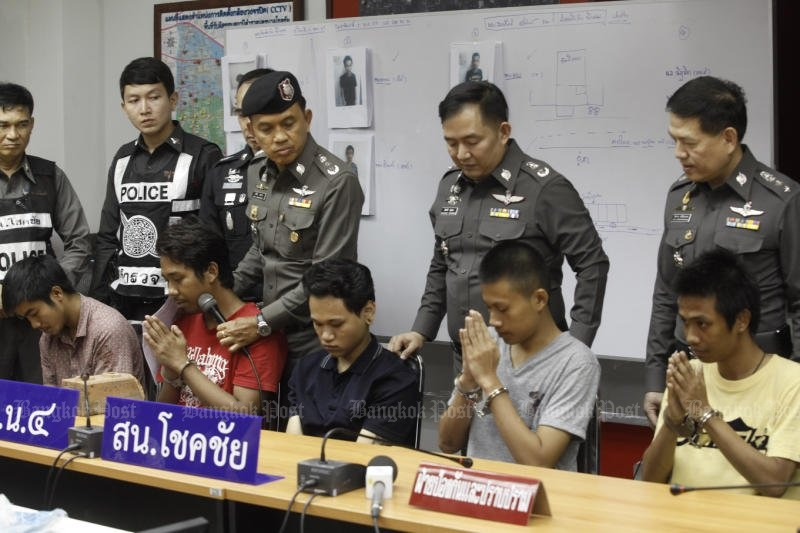 Now they're ashamed. Police charged these five and a hospitalised sixth men in their early 20s for attacking and killing a 36-year-old disabled man with swords, rocks, fists on Sunday. (Photo by Pornprom Satrabhaya)