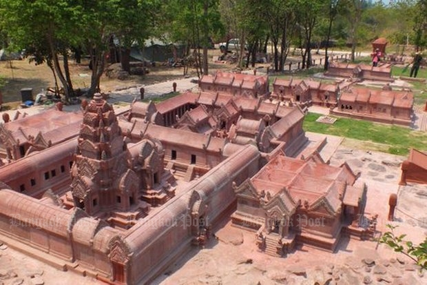 The scale-model replica of the Preah Vihear temple was unveiled in late March on a plateau overlooking the real temple, but has drawn fears it could break relations with Cambodia, owners of the original. (Photo by Wassana Nanuam)