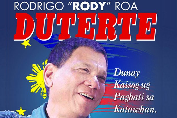 Most of the Philippines media has given friendly or non-hostile coverage to the seven-term mayor from the South's toughest town. The Cebuano caption translates roughly as,